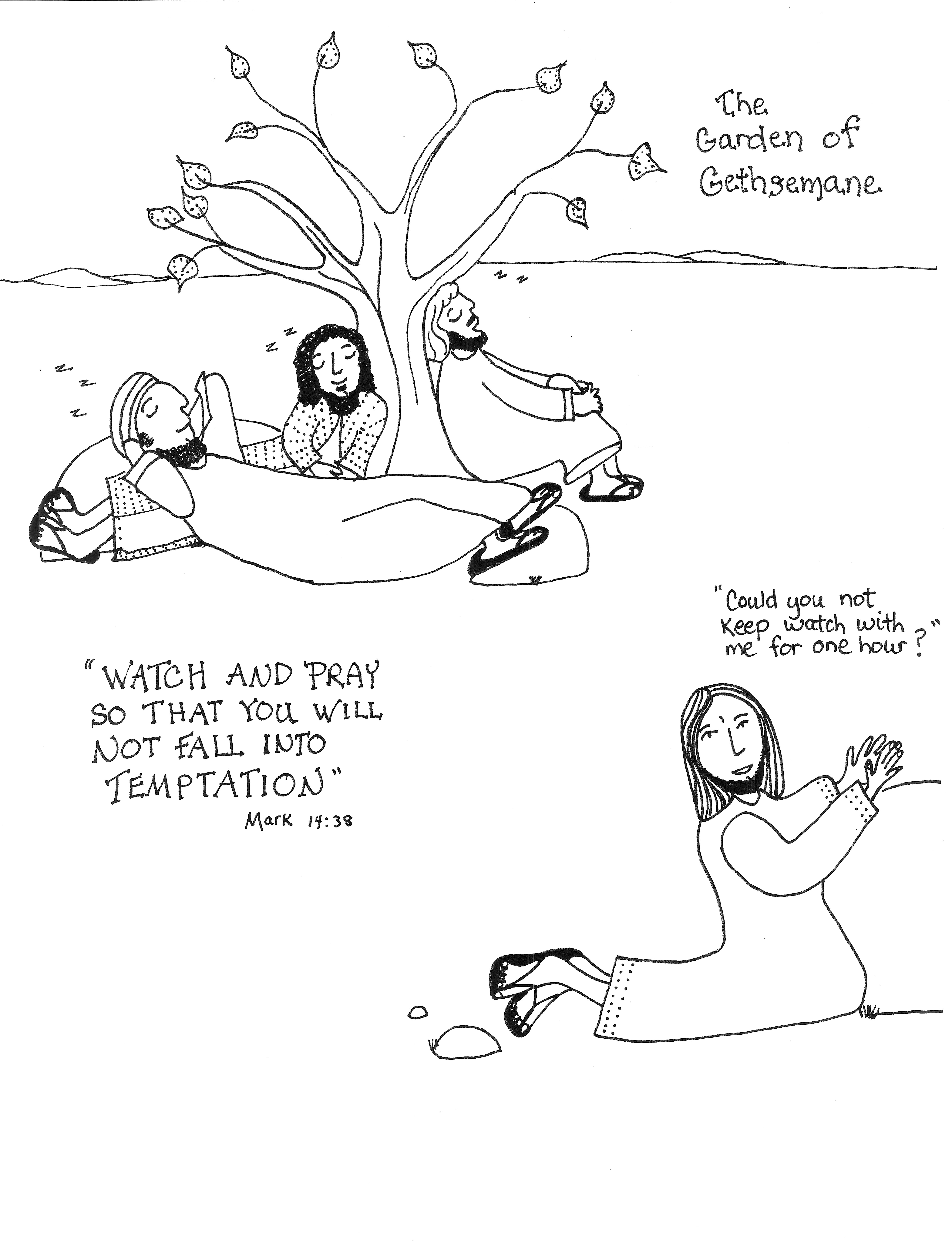 Gethsemane The Olive Press Aunties Bible Lessons Jesus In The Garden Of Gethsemane Coloring Page