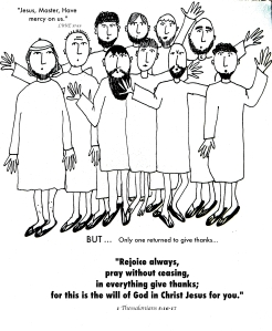 coloring page jesus heals ten lepers - only one gave thanks aunties bible lessons